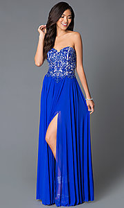 JVN by Jovani Long Chiffon Sweetheart Prom Dress