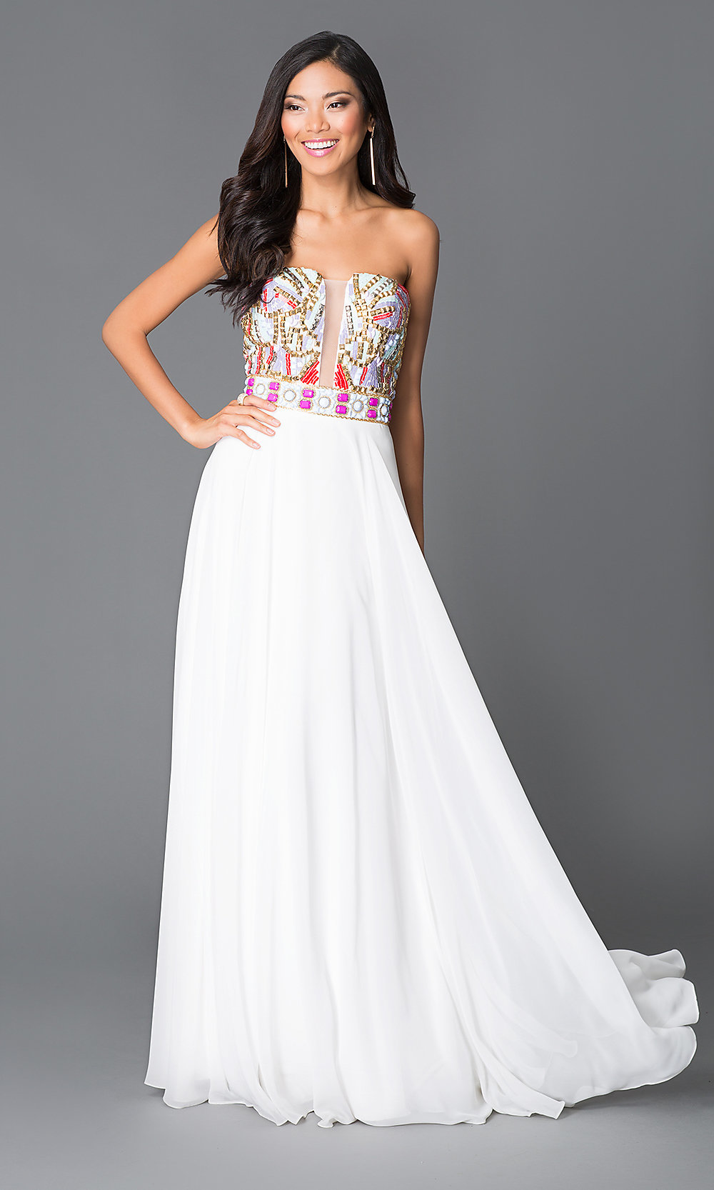 Long White A-Line Beaded Top Prom Dress-PromGirl