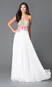 Long White A-Line Beaded Top Prom Dress by JVN by Jovani