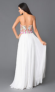 Image of strapless long white beaded top dress Style: JO-JVN-JVN31751 Back Image