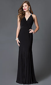 Image of long v-neck dress with t-back from JVN by Jovani. Style: JO-JVN-JVN25109 Detail Image 1