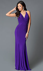 Image of long v-neck dress with t-back from JVN by Jovani. Style: JO-JVN-JVN25109 Back Image