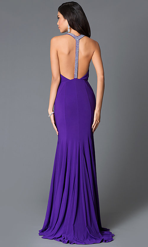 Image of long v-neck dress with t-back from JVN by Jovani. Style: JO-JVN-JVN25109 Front Image