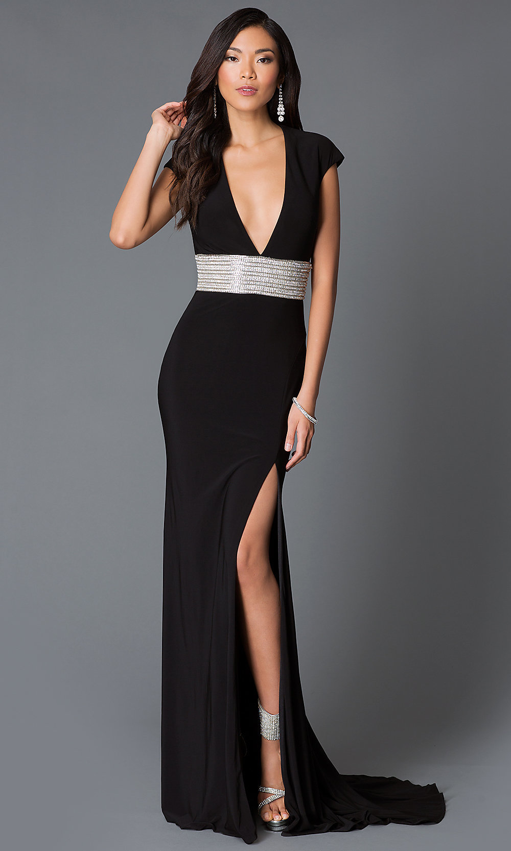 JVN by Jovani Backless V-Neck Dress- PromGirl