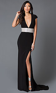 Image of floor length low v-neck backless dress Style: JO-JVN-JVN93631 Front Image