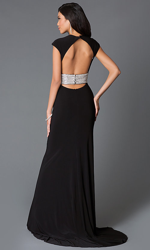 Image of floor length low v-neck backless dress Style: JO-JVN-JVN93631 Back Image