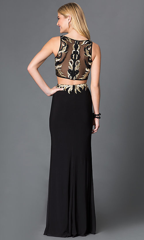 Image of illusion beaded embroidered applique two-piece sleeveless floor-length dress Style: JO-JVN-JVN33748 Back Image