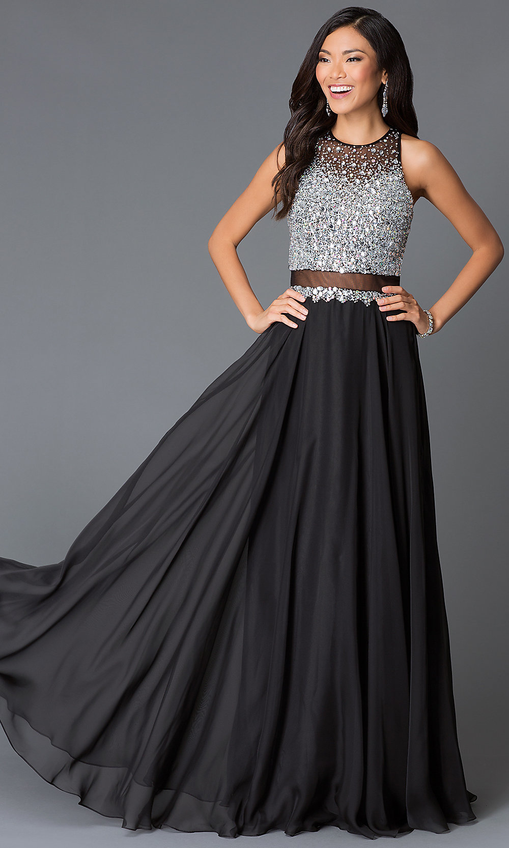Beaded Sleeveless Illusion Long Dress Promgirl