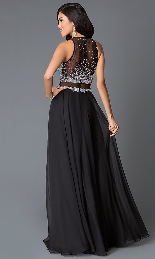 Image of beaded sleeveless long dress by JVN by Jovani. Style: JO-JVN-JVN34012 Back Image
