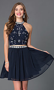 Image of two piece high neck bead embellished dress. Style: NA-6165 Front Image