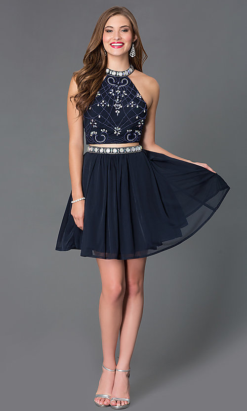 Image of two piece high neck bead embellished dress. Style: NA-6165 Detail Image 1
