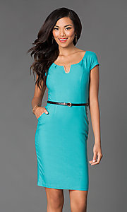 Short-Sleeve Day-to-Night Spandex Dress with Belt