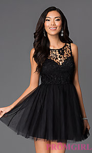 Image of short lace-bodice fit-and-flare dress with bow Style: LP-23018 Detail Image 1