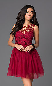 Short Lace Fit-and-Flare Dress with Bow