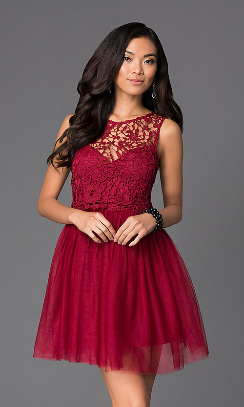 Image of short lace-bodice fit-and-flare dress with bow Style: LP-23018 Front Image