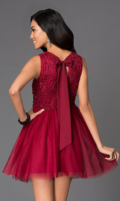 Image of short lace-bodice fit-and-flare dress with bow Style: LP-23018 Back Image