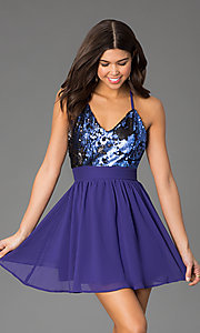 Image of short chiffon party dress with v-neck sequin bodice. Style: CCC-6S5735-vp Detail Image 2