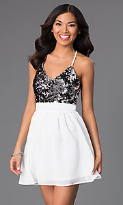 Image of short chiffon party dress with v-neck sequin bodice. Style: CCC-6S5735-vp Front Image