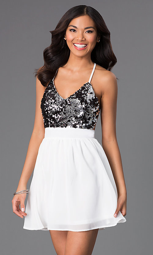 Image of Short Spaghetti Strap V-Neck Sequin Dress Style: CCC-6S5735-vp Front Image