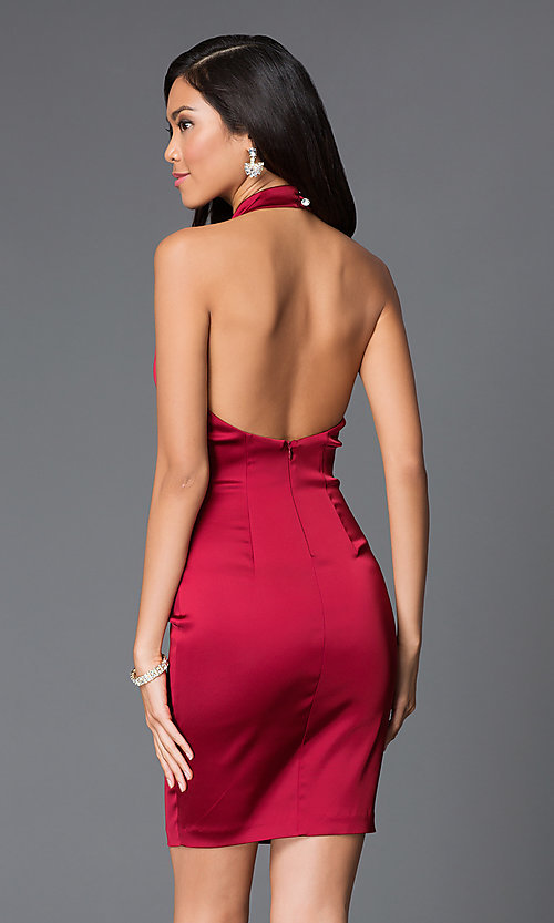 Short Halter Open-Back Red Semi Formal Dress