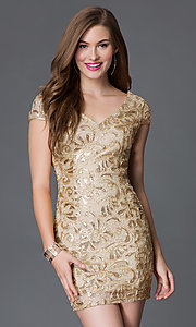 Image of short v-neck cap sleeve open back sequin lace dress Style: TW-4198 Detail Image 1