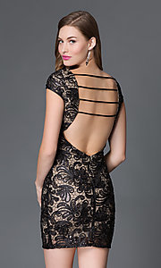 Image of short v-neck cap sleeve open back sequin lace dress Style: TW-4198 Back Image
