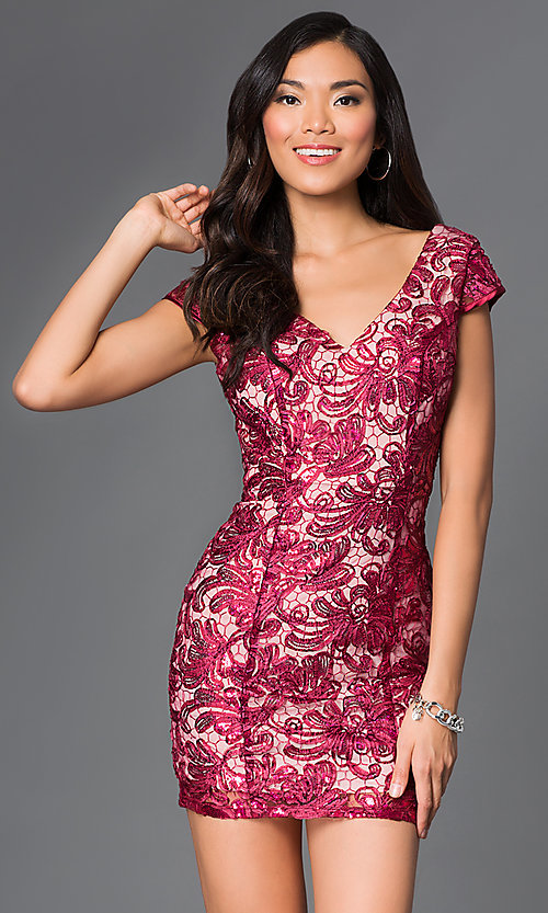 Image of short v-neck cap sleeve open back sequin lace dress Style: TW-4198 Detail Image 2