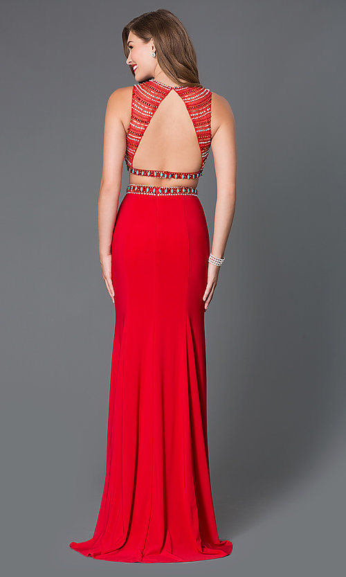 Image of two piece floor-length beaded prom dress Style: NA-8174 Back Image