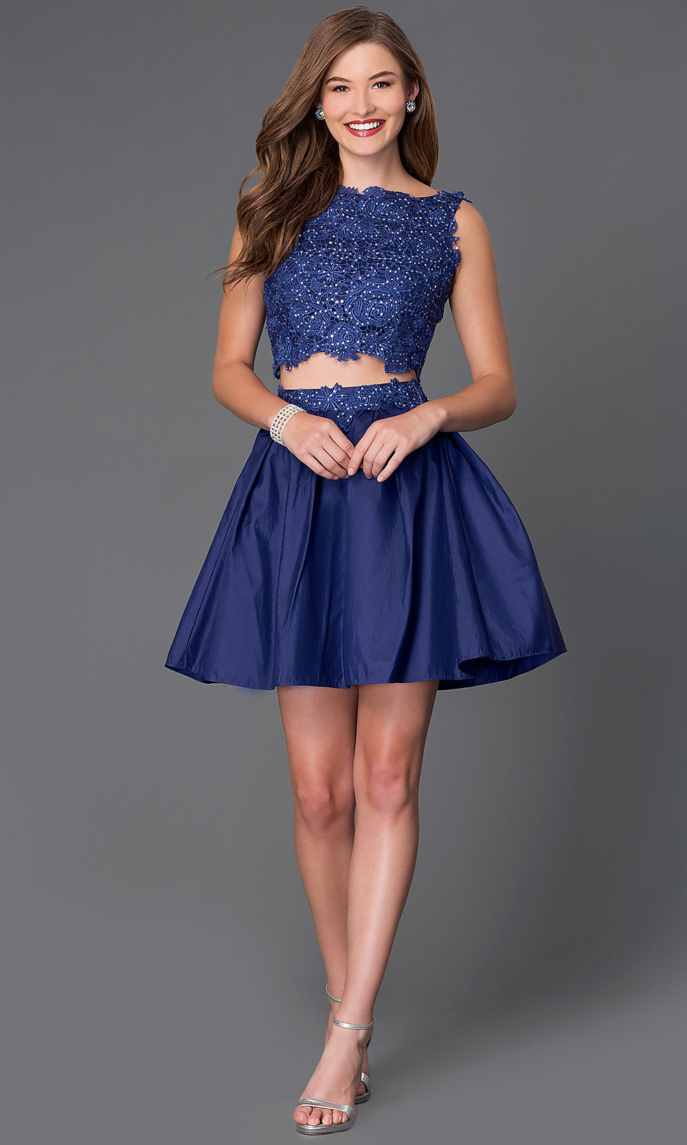 Homecoming Two Piece Party Dress With Lace Promgirl
