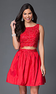 Image of two-piece sleeveless lace-bodice homecoming dress. Style: NA-6054 Detail Image 2