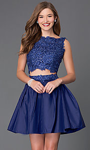 Two-Piece Sleeveless Lace-Bodice Homecoming Dress