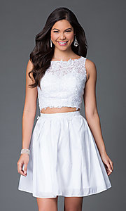 Image of two-piece sleeveless lace-bodice homecoming dress. Style: NA-6054 Detail Image 3