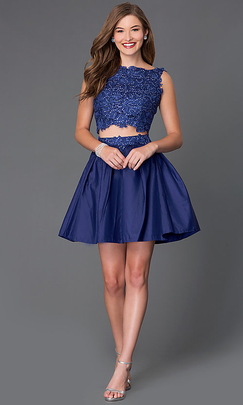 Image of two-piece sleeveless lace-bodice homecoming dress. Style: NA-6054 Detail Image 1