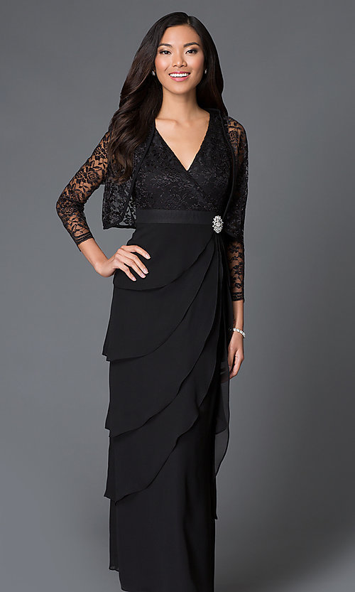 Image of long empire-waist wedding-guest dress with jacket. Style: SF-8729 Detail Image 3