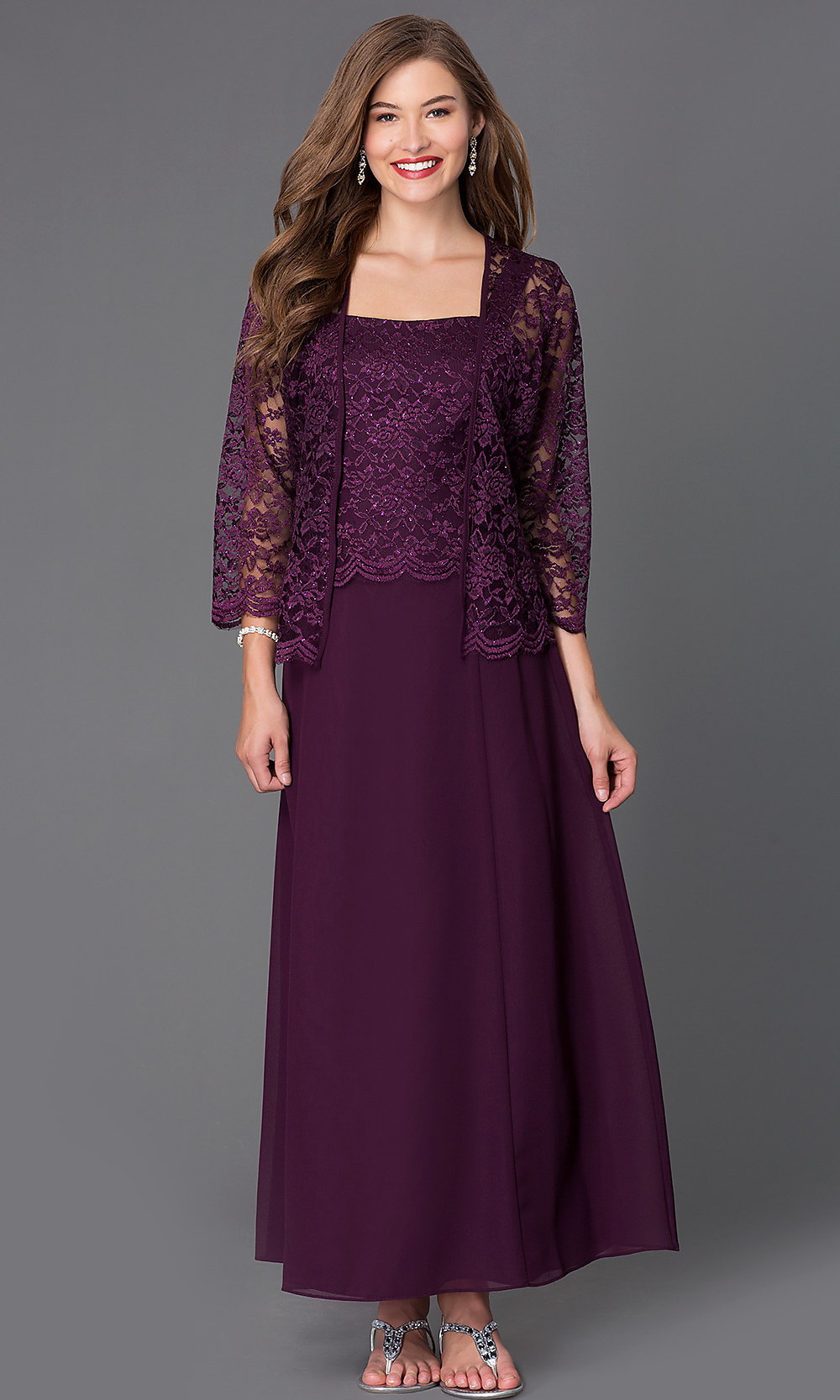 MOB Long Sleeveless Dress with Lace Jacket - PromGirl
