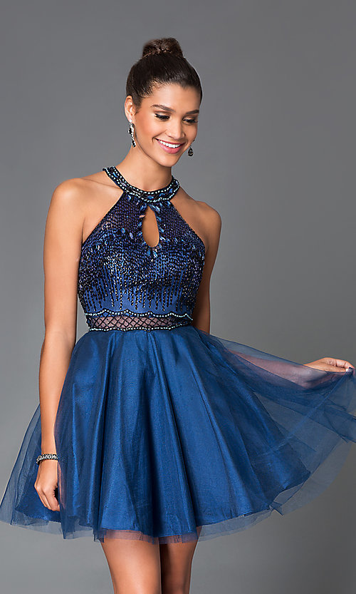 Image of short blue high-neck a-line dress with beaded top. Style: MF-E1888 Front Image