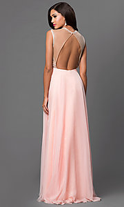Image of open-back sleeveless Dave and Johnny prom dress. Style: DJ-2368 Back Image