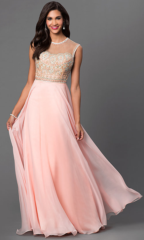 Image of open-back sleeveless Dave and Johnny prom dress. Style: DJ-2368 Front Image
