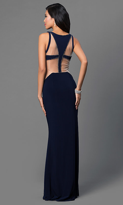 Image of Dave and Johnny long prom dress with cut outs. Style: DJ-1849 Back Image