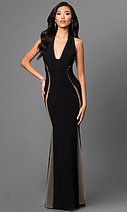 Black Sleeveless Low Neck Dave and Johnny Dress with Sheer Back