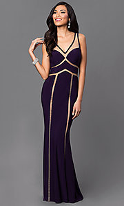 Illusion Long Sleeveless Purple Dave and Johnny Dress
