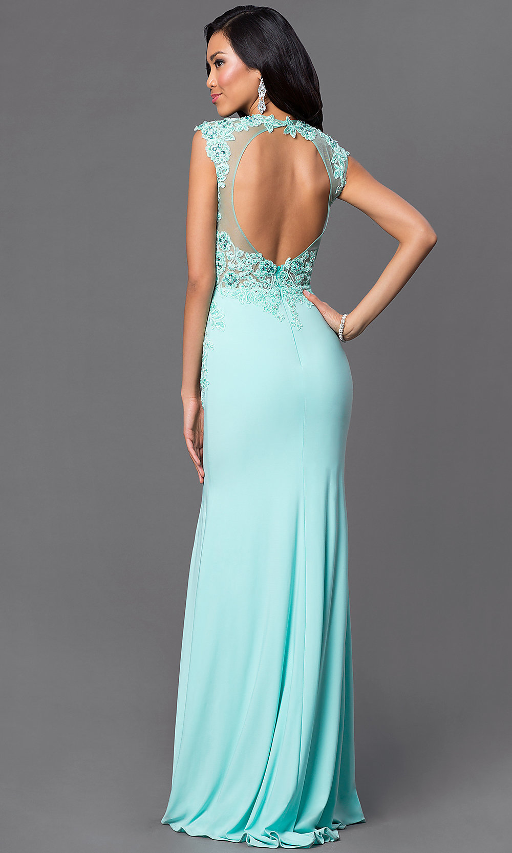 Long Open Back Lace Bodice Dress- PromGirl