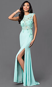 Image of floor-length open-back illusion-lace bodice sleeveless aqua dress Style: DJ-2652 Front Image