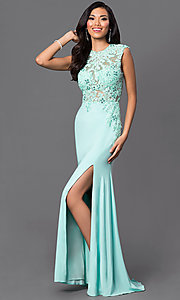 Image of floor-length open-back illusion-lace bodice sleeveless aqua dress Style: DJ-2652 Detail Image 1