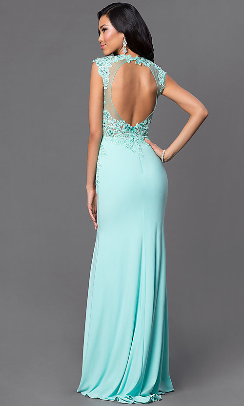 Image of floor-length open-back illusion-lace bodice sleeveless aqua dress Style: DJ-2652 Back Image