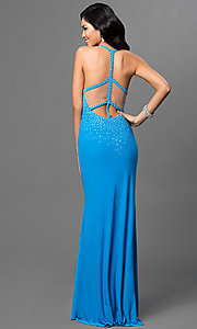 Illusion V-Neck Floor Length Dave and Johnny Prom Dress