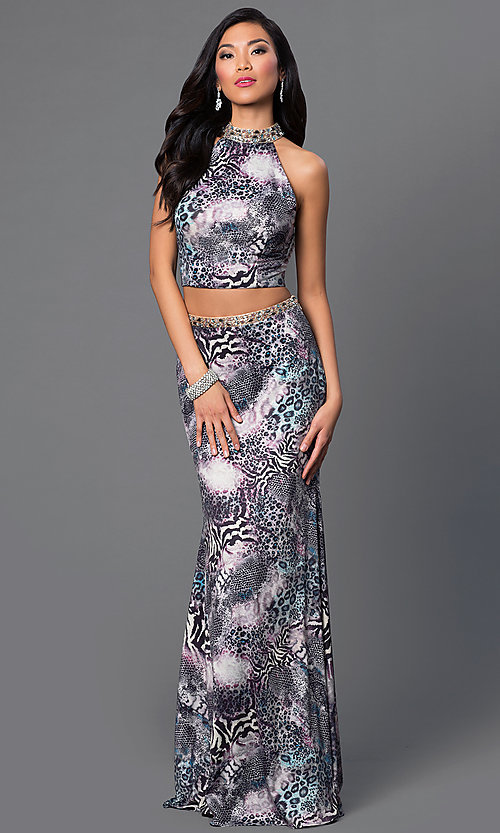 Image of two-piece animal-print Dave and Johnny prom dress.  Style: DJ-2304 Front Image