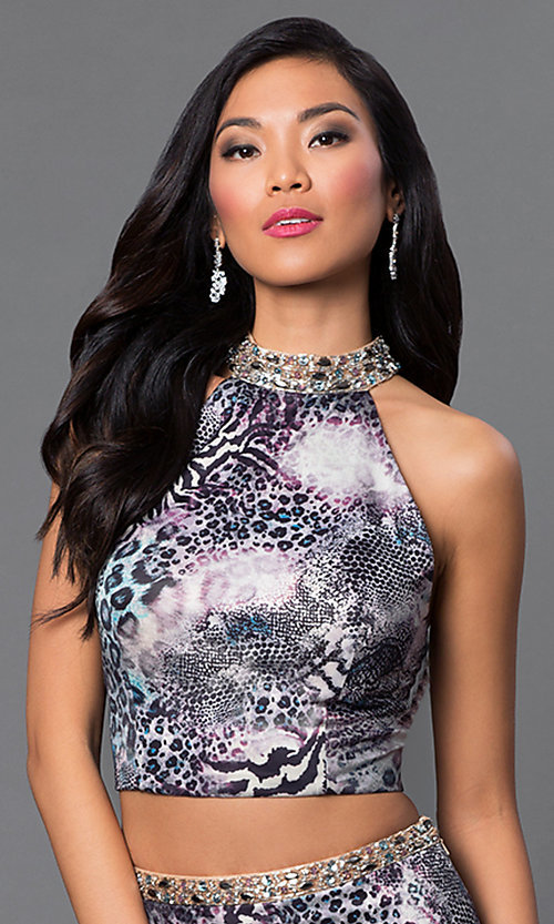 Image of two-piece animal-print Dave and Johnny prom dress.  Style: DJ-2304 Detail Image 1