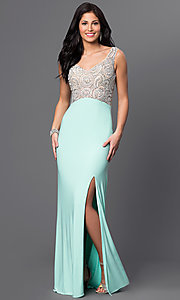 V-Neck Beaded Bodice Floor Length Dress with Slit by Dave and Johhny