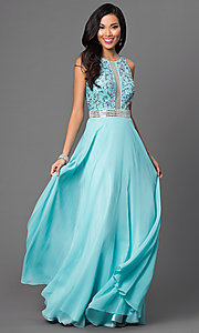 Image of aqua open-back long Dave and Johnny prom dress. Style: DJ-2551 Front Image